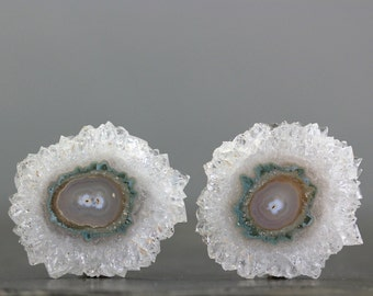 Solar Quartz Pair Stalactite Slice Amethyst Flower Polished Stalagmite Specimens (CA6894)