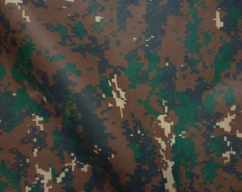 """Leather CLOSEOUT 8""""x10"""" FLAWED Camo Woodland Digital Army with CAMEL Cowhide #312 2.5 oz / 1 mm PeggySueAlso™ E5450-02"""