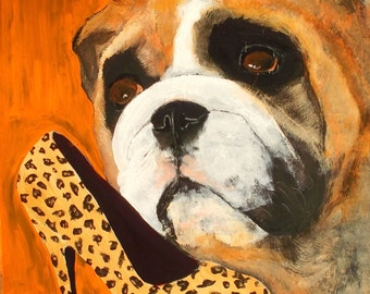 "English Bulldog Art PRINT of an original oil painting,Dog art,""Chew Fetish"",Signed Original,8x10"
