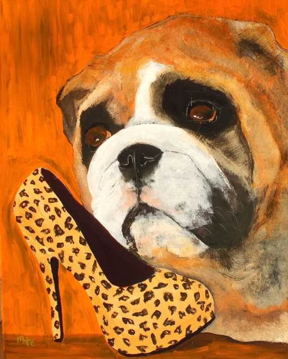 English Bulldog Art PRINT of an original oil paintingDog