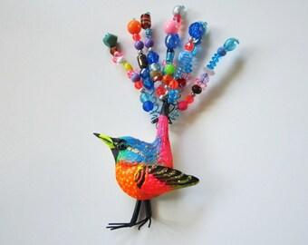 Whimsical bird art, bird wall sculpture, colorful bird, beaded art, unique bird art