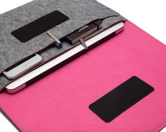 Macbook AIR laptop Organizer Case Cover - Gray & Pink - Weird.Old.Snail