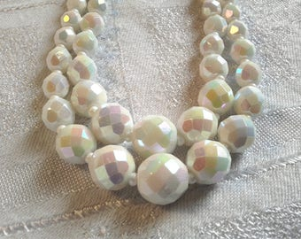 Vintage 50s Double Strand, White AB, Faceted Glass Bead Necklace.