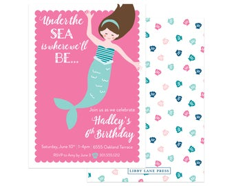 Mermaid Party Invitation (Mermaid Party, Pool Party Invitation, Under the Sea, Pirates and Mermaids, Summer Party Invitations, Summer Party)