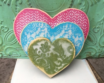 Stacked Heart Set, Home Decor Wooden Heart Set, Spring Colors Heart Set