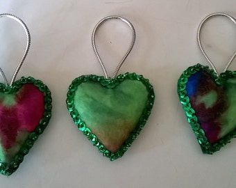 "Set of 3 Handmade Tie Dye Felt and Sequin Heart  Ornaments  2x2"" GREEN"