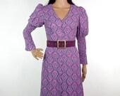 Gorgeous Psychedlic Biba Style 60s Midi Dress In Soft Crepe