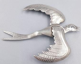 Big Sterling Silver Bird Brooch, Sterling Eagle Pin, Silver Hawk Brooch
