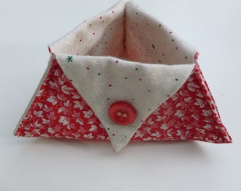Red leaf print thread catcher for sewing/craft projects