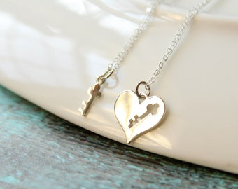 Key to My Heart Necklace Set in Sterling Silver - Heart and Key Necklaces, Two Necklaces, Matching Necklace Set