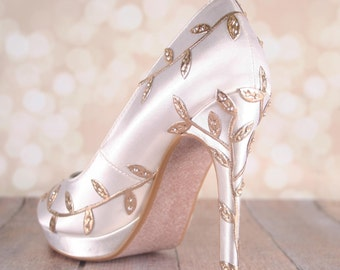 Gold Leaf Wedding, Gold Leaf Wedding Shoes, Ivory Wedding Shoes, Closed Toe, Bridal Shoes, Gold Metallic Leaf Wedding Shoes, Custom Wedding
