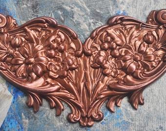 Neo Victorian Brass Floral Necklace Base, Caramel Patina