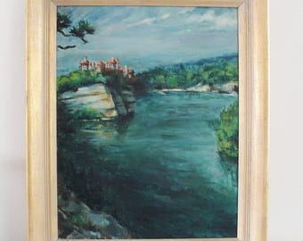 vintage oil painting, New Paltz Mohonk Mountain House, landscape, lake, blues and greens