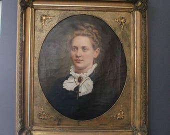 Vintage Signed Lady Portrait Oil Painting with Beautiful Frame - 1879 German