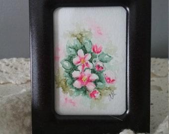Watercolor Art Framed Apple Blossoms Pink Home Decor Wall Art Framed Original Hand painted vintage Frame