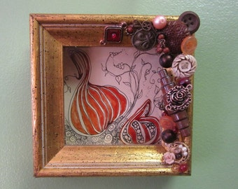 Custom Framed Zen Tangle Original Drawing One of a Kind Handcrafted