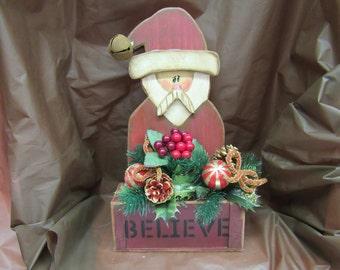 Wooden Santa Believe