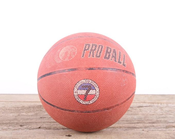 Vintage Pro Ball Basketball / Basketball Decor / Old Rubber Basketball / Unique Mens Gift / Game Room / NBA High Scholl Basketball Decor