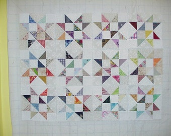 Set of 12 Eight Inch Mixed print Star Quilt Blocks Squares Scrappy