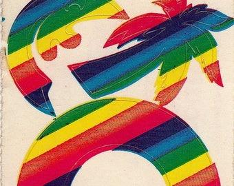 SALE Vintage Lisa Frank Rainbow Stickers - 80's Palm Tree Man in the Moon