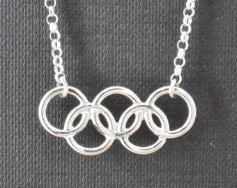 Olympic Necklace, Olympic Jewelry, Sterling Silver Necklace, Olympic Ring, Custom Made, 2016, JubileJewel, Handmade Jewelry