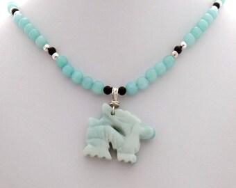 Amazonite Dragon Black Onyx Handmade Designer Pendant Necklace