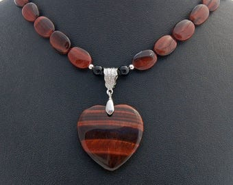 Red Tiger Eye Natural Stone Heart Pendant Necklace