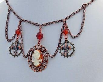 Cameo Amber Victorian Steampunk Handmade Designer Choker