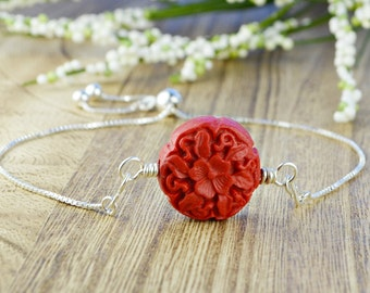 Red Flower Cinnabar Bead Adjustable Sterling Silver Interchangeable Charm/Link Bolo Bracelet- Charm, Bracelet Chain, or Both