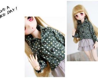 SAYOKO outfit for LUTS dollfie 1/4 BJD Doll - Cat footprints shirt - Dark green (No.A673)