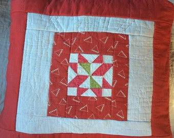 VINTAGE QUILT PILLOW, antique fabric, red green, holiday decor, hand made, ooak