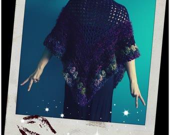 Crochet Triangle Shawl,Triangle Scarf,Boho Wrap,Hippie Shawl,Gypsy Clothes,Gradient Yarn,One Size,Women's Clothing,Purple,Green,Garnet,Pink