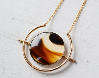 Atomic Montana Agate Disk Necklace, Montana Agate Necklace, Stone Circle Necklace, Long Boho Necklace, Stone Pendant Necklace, Gold Filled
