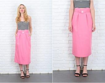 Vintage 80s Pink Retro skirt pleated High Waist Mid small S 9439