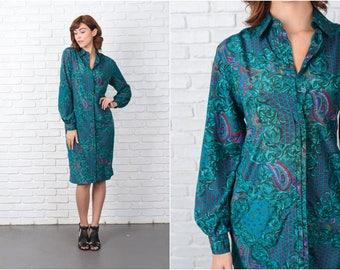 Vintage 80s Paisley Shift Dress Shirt Dress Teal Red Floral Leaf medium M 9551