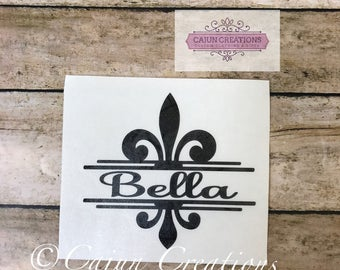 Name decal, laptop decal, fleur de lis decal, personalized decal, custom decal, Name inside a fleur de lis split design, computer decal