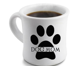 Dog Mom Decal Paw Print Vinyl Decal for Mugs Tumblers Laptops