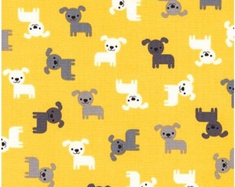 Mini Puppies on Yellow from Robert Kaufman's Urban Zoologie Collection by Ann Kelle