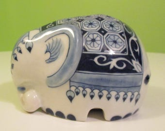 Vintage Thai Porcelain Elephant Piggy Bank