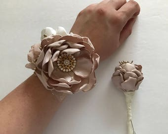 Wrist Corsage and Boutonnière Set - Choose Your Pieces - Champagne, Cream and Gold - Fabric Flowers, Wrist Corsage, Prom, Formal Dance