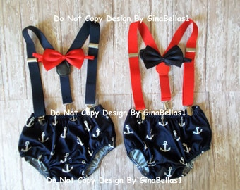 Nautical Birthday outfit cake smash suspenders anchor red or blue bow tie set Navy sailor diaper cover sailor baby shower 9 12 18 24 toddler