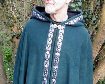 Legendary Elf Trimmed Pointed Hood Fleece Cloak / Cape - Unisex Large - Green with Black inner hood