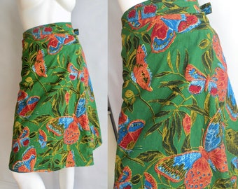 60s 70s Cotton African Hippie Wrap Skirt With Butterflies Emerald Green - S-L