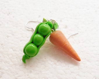 Peapod And Carrot Earrings. Polymer Clay