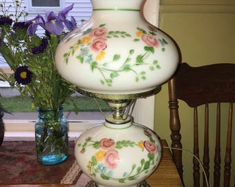 Vintage Floral Hurricane Lamp