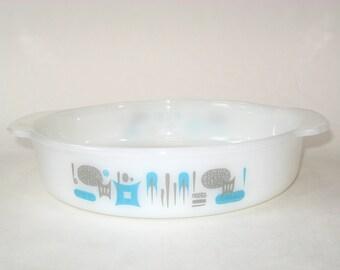 Anchor Hocking Fire King Blue Heaven Round Baking Dish / Serving Bowl