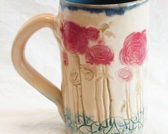 ceramic red flower coffee mug 16oz stoneware 16B070