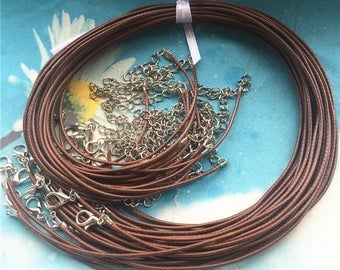 25 pieces 16-18 inch 1.5mm thickness brown  korea leather necklace cords