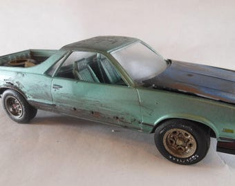 Scale Model Car,El Camino,Green Chevy,Classicwrecks,Junker Model,Rusted Wreck