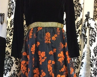 1950's  black and orange skater dress